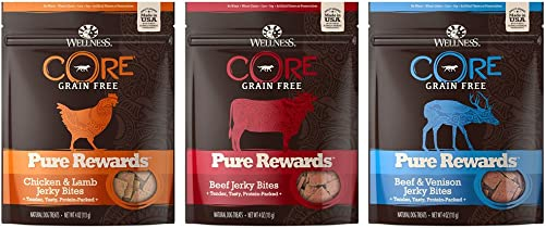 Wellness CORE Pure Rewards Jerky Bites Dog Treats Variety Pack – 4 Ounces – 3 Flavors – Beef, Beef Venison, and Chicken Lamb