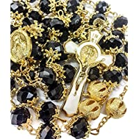 New High Quality St Benedict Gold Plated & Black Crystals Rosary Miraculous Medal