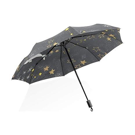 ISAOA Paraguas de Viaje automático Compacto Plegable Paraguas Amarillo Estrellas y Peces Cielo Resistente al Viento