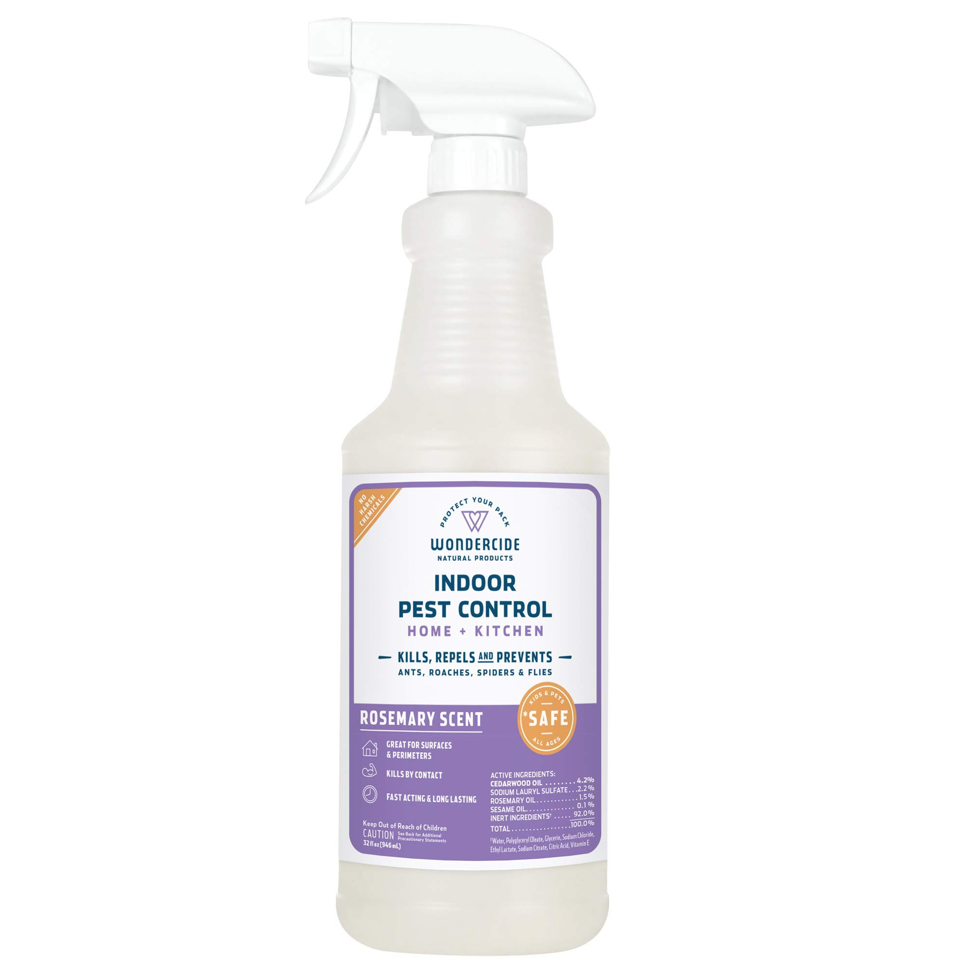 Wondercide Natural Indoor Pest Control Spray for Home and Kitchen - Fly, Ant, Spider, Roach, and Bug Killer and Repellent - 32 oz Rosemary by Wondercide