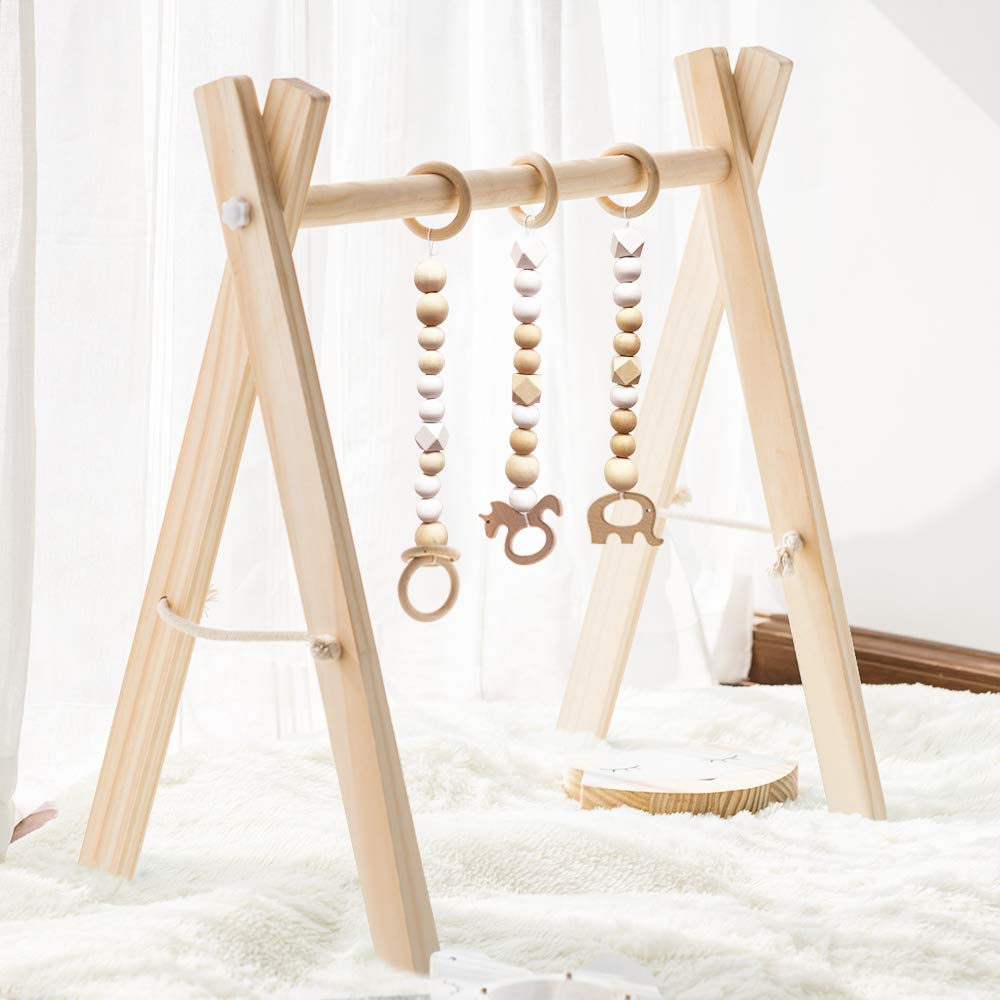 HAN-MM Wood Baby Gym with 3 Wooden Baby Teething Toys Foldable Baby Play Gym Frame Activity Gym Hanging Bar Newborn Gift Baby Girl and Boy Gym (Natural Color)