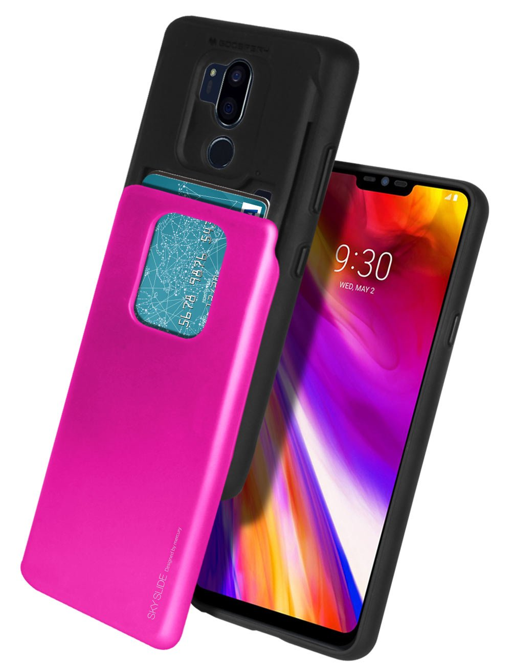 Lg G7 Thinq Case Mercury Sliding Card Goospery Iphone 7 Plus Sky Slide Bumper Lime Holder Protective Dual Layer Tpu Pc Cover With Slot Wallet For