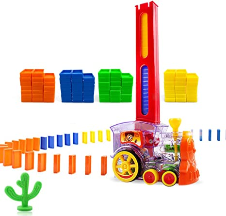 Vanmor 80Pcs Domino Train Toy Set Kids Girls Stackers Game Creative Gifts for 3 4 5 6 7 Years Old Boys Domino Rally Train Model with Lights and Sounds Construction and Stacking Toys