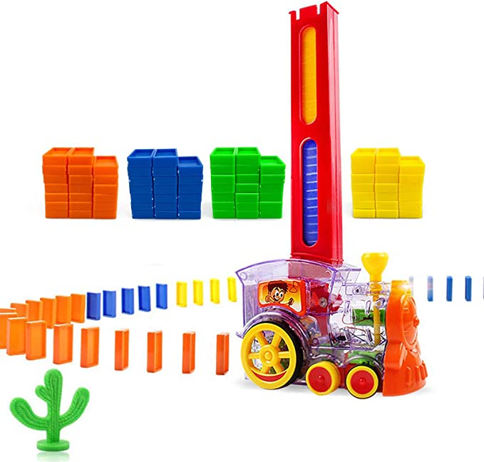 Automated Building and Stacking Toy Domino Set for Kids Merry Christmas Electric Domino Laying Train 168 pcs Domino Blocks