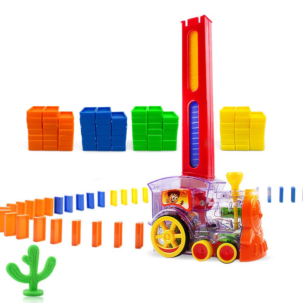 Domino Train, Domino Blocks Set, Building and Stacking Toy Blocks Domino Set for 3-7 Year Old Toys, Boys Girls Creative Gifts for Kids by Oiuros