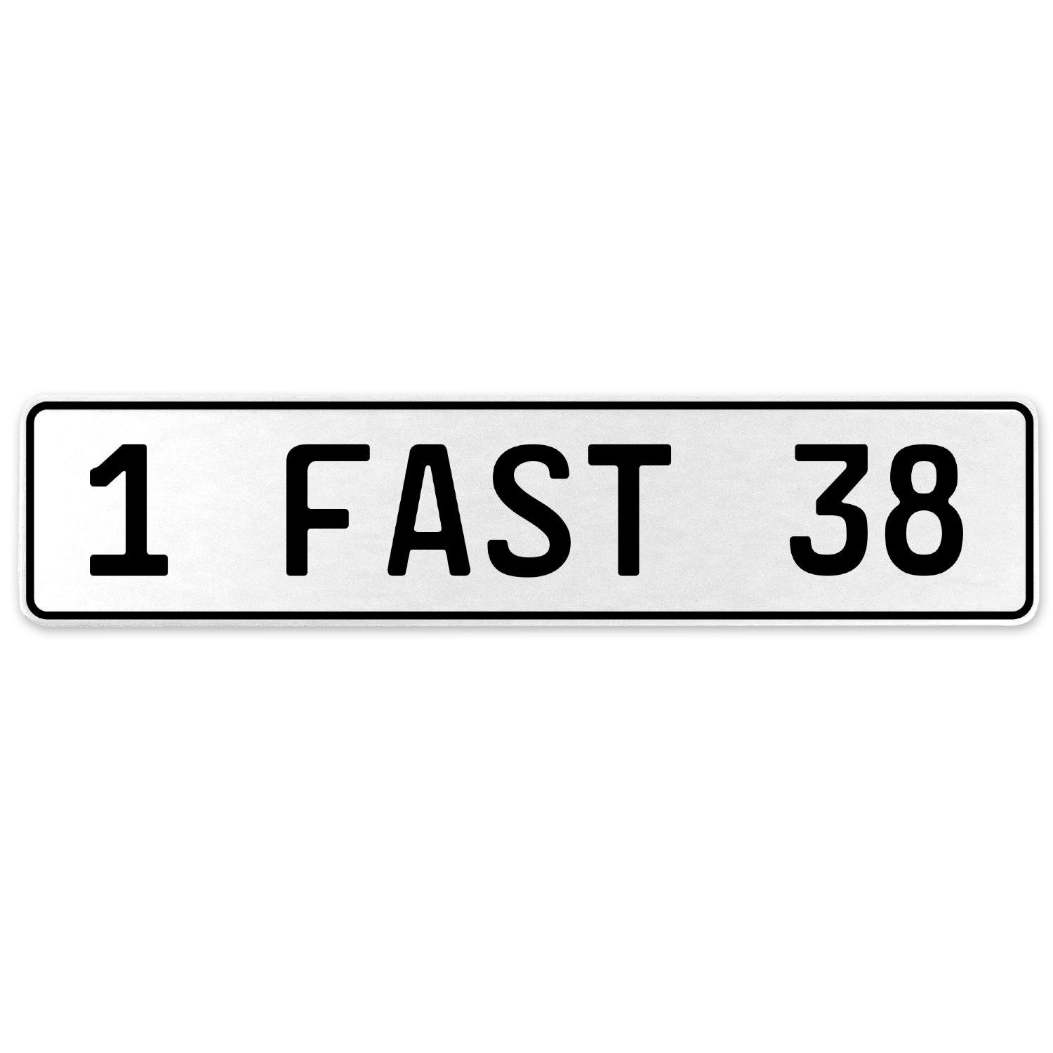 Vintage Parts 557407 1 Fast 38 White Stamped Aluminum European License Plate