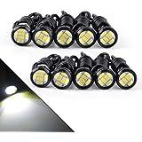 10pcs 23mm eagle eye LED High Power 5730 6SMD White 12V Car Motor DRL Daytime Running Light Back Up Backup Reverse Parking Light for Car Van SUV Coupe Sedan Power Wheels
