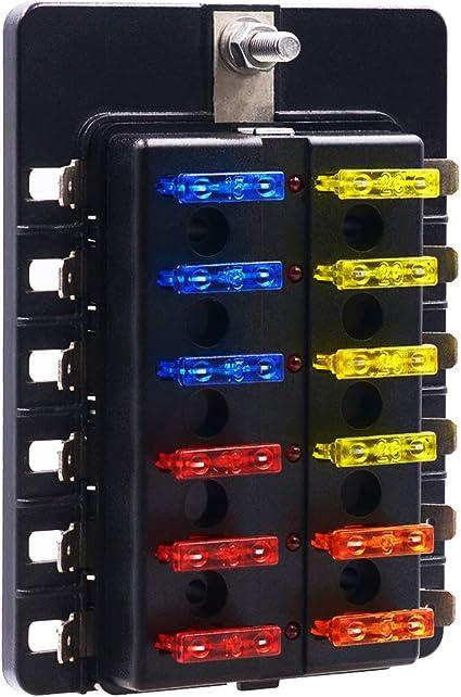amazon.com: bluefire 12 way 30a 32v blade fuse box board with 24pcs fuse +  led warning light for car/marine boats/automotive/trike: automotive  amazon.com