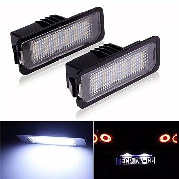 LITTOU 2 X Luz de Matricula 18 LED SMD LED traseras CanBus error free Para golf 4 ,5, 6 ,7, polo: Amazon.es: Coche y moto