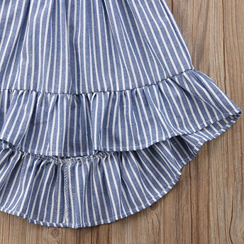 Qiylii 1-6 yrs Kids Baby Girls Stripes Princess Sleeveless Party Dress Sundress Summer Clothes