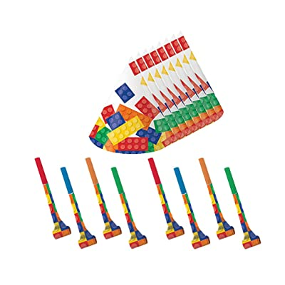Building Block Party Cone Hats and Blowouts (8 Guests) by BirthdayExpress: Toys & Games