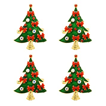 Christmas Tree Napkin Rings.C L Accessories Napkin Rings Set Of 4 Christmas Tree Napkin Holders For Wedding Banquet Party Dinner Christmas Hotel Kitchen Table Decoration