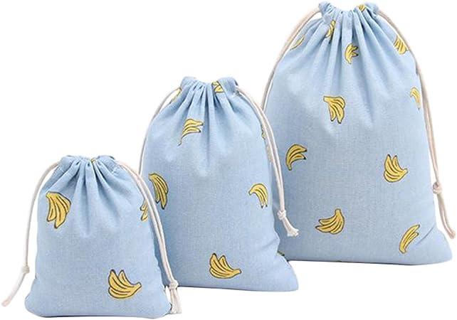 Milopon 3x Sachet en Coton avec Cordon Motif Banane Pochette Rangement Pour Maison Bijoux Voyage Bleu
