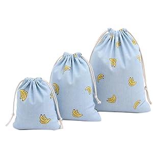 LAAT Set of 3 Sac à Cordon Sac en Toile de Coton Rangement à Grande Capacité Sac à Cinch Ditty Bag Respectueux de l'Environnement pour Organisation Tout
