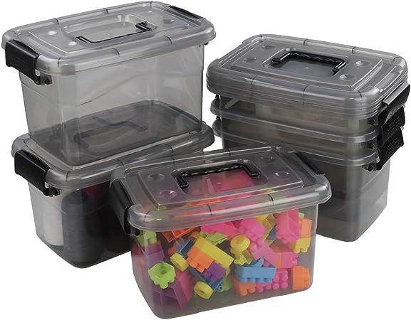 Ucake Caja Plastico de Almacenaje Portátil para Primeros Auxilios con Asas y Tapas, Color Gris Claro y Negro, 6 Paquetes: Amazon.es: Hogar