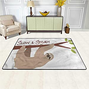 Area Rug Sloth, Cartoon Wildlife Mammal Washable Printed Rugs Maximum Absorbent Soft 7 x 7 Feet