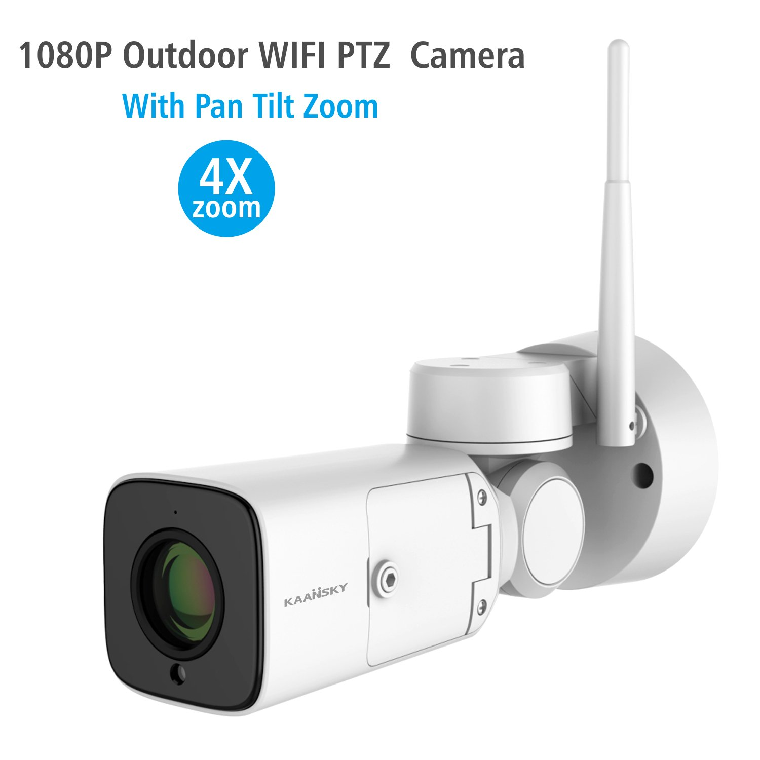 KAANSKY Wireless camera for Home Security Outdoor With HD 1080P 2MP IP Bullet Camera PTZ 4X Zoom AF Lens, Two-Way Audio Night Vision With Motion Detection, Weatherproof IP66 Support 128G SD Card