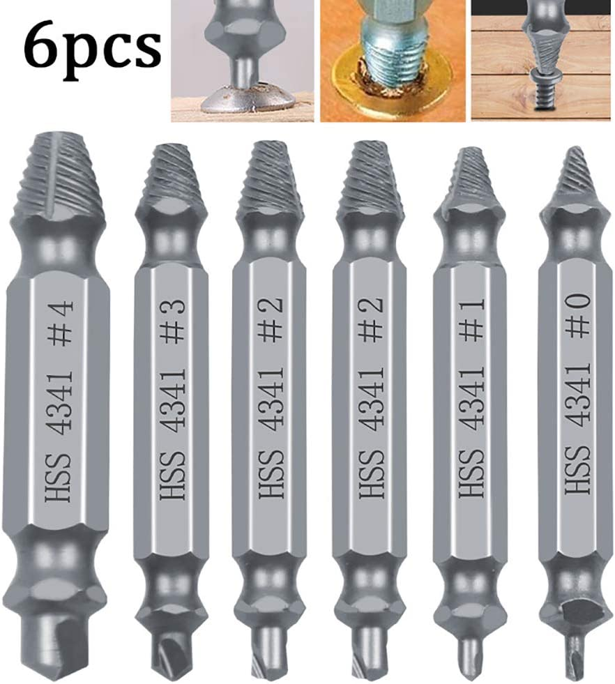 Doolland Screw Extractor 6Pcs Damaged Screw Remover Set Speed Out Drill Bits Guide Set Tungsten Steel Plated Titanium