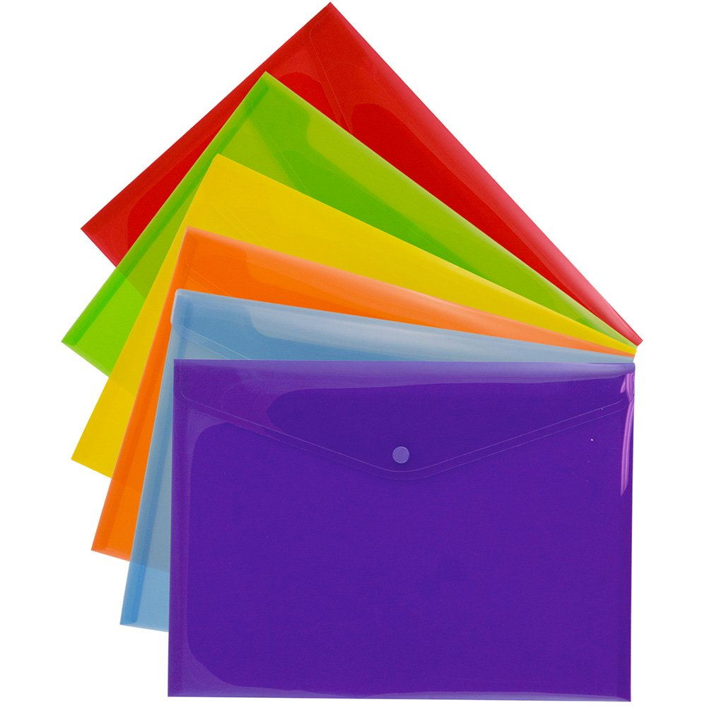 JAM PAPER Plastic Envelopes with Snap Closure - Letter Booklet - 9 3/4 x 13 - Assorted Colors - 6/Pack