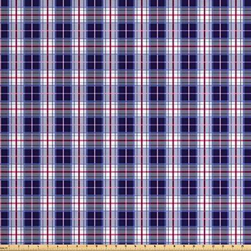 Ambesonne Checkered Fabric by The Yard, Classical Vintage Design with Vibrant Colors Scottish Tartan Tile, Decorative Fabric for Upholstery and Home Accents, Maroon Royal Blue -