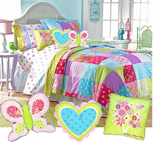 Cottage Chic Girls Pink Blue Lime Country Patchwork Shabby 100% Cotton Ensemble 10pc's Full Size Comforter Set + 3 Decor Pillows!
