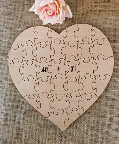 Amazon.com: Wedding Guest Book Puzzle Alternative Heart Guestbook ...