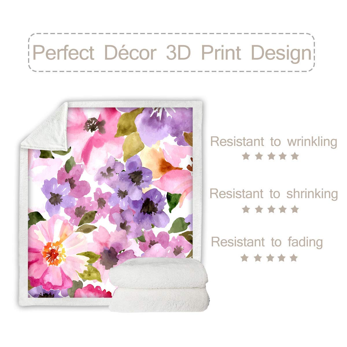 Sleepwish Botanical Sherpa Fleece Blanket 3D Printed Watercolor Plush Throw Blanket Shabby Chic Fuzzy Soft Blanket Artistic Colorful Floral, Baby 30x40