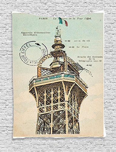 Eiffel Tower Collection Vintage Postcard with Eiffel Tower in Paris France 1910 Rare Antique Collection Image Beige Supersoft Throw Fleece Blanket 59.05