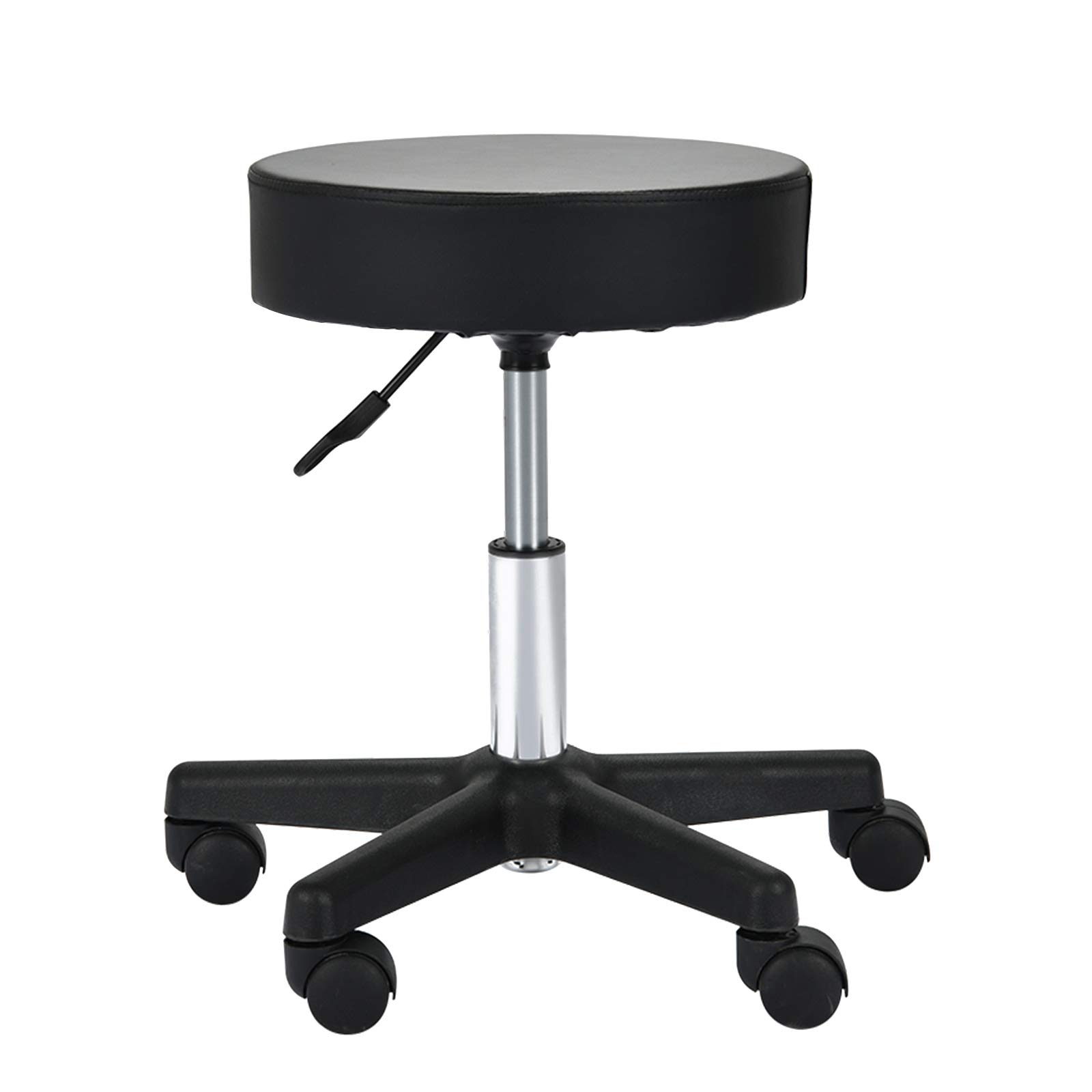 Uenjoy Adjustable Stool for Massage with Ultra-thick Sponge, PU Leather, Hydraulic Rolling Swivel, Massage Spa Tattoo Salon Chair, Black