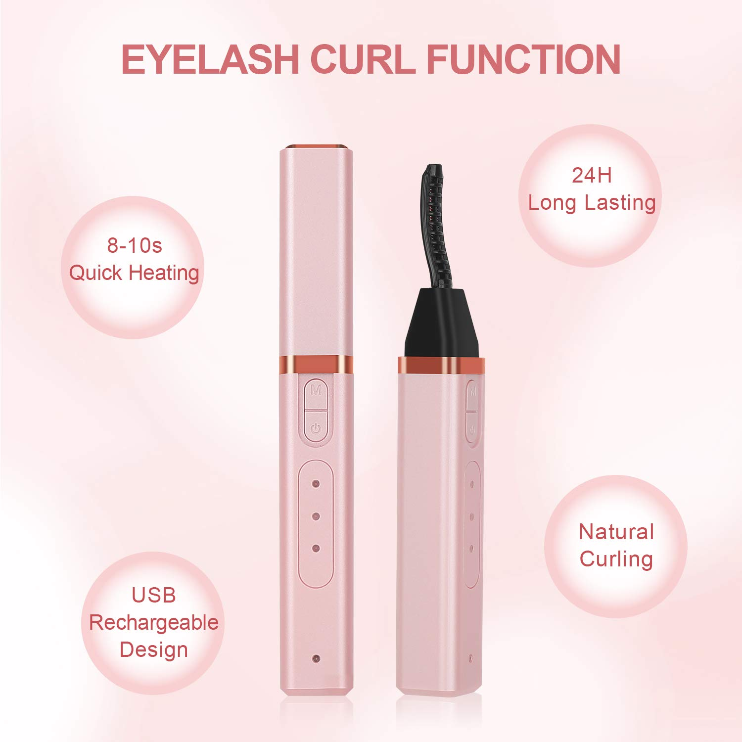 Heated Eyelash Curler, Electric Eyelash Curler 3 Temperature Options USB Rechargeable Portable Mini Natural Eye Lashes Curling Perfect Curl in 8 Seconds by Stepjoy (2020 Upgraded, Rose) : Beauty