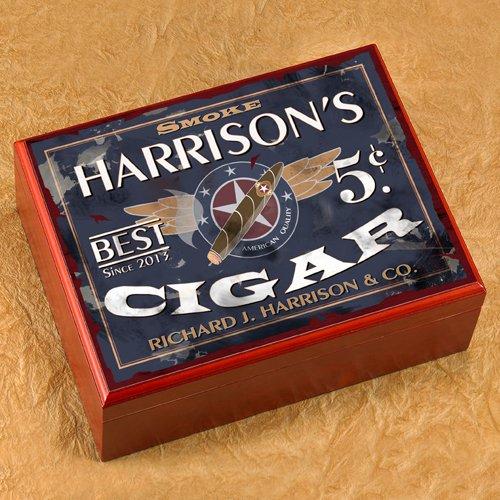 Personalized Trinidad Cigar Humidor Box - Patriot Design