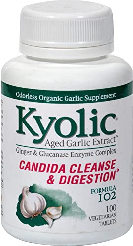 Kyolic Aged Garlic Extract Candida Cleanse and Digestion Formula 102 – 100 Vegetarian Tablets