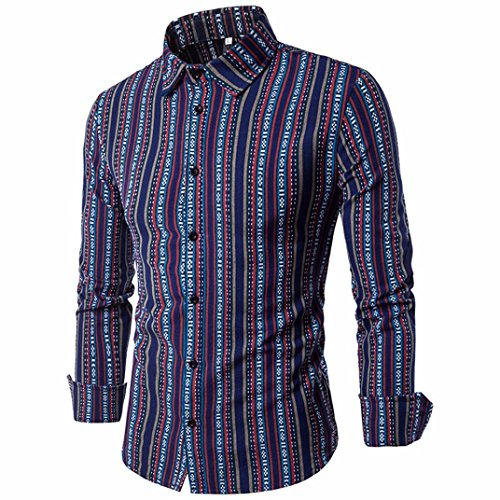 Hot Sale Shybuy Men's Shirt Slim Fit Stripe Long Sleeve Casual Button Shirts Formal Top Blouse (XL, Purple) Blend Tie