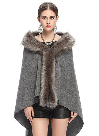 NiSeng Mujer capas abrigos invierno de pelo sintetico poncho de punto manga larga # Gris: Amazon.es: Ropa y accesorios