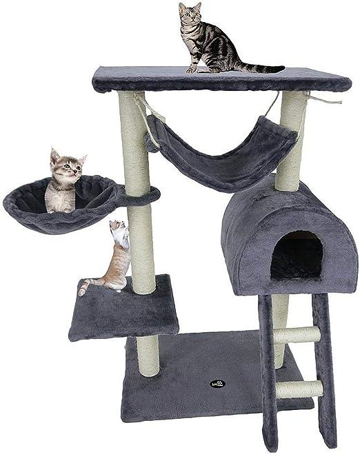 Todeco - Árbol para Gatos, Escalador para Gatos - Material: MDF - Tamaño de la casa de Gato: 35,1 x 35,1 x 24,9 cm - 100 cm, 5 Plataformas, Gris: Amazon.es: Productos para mascotas