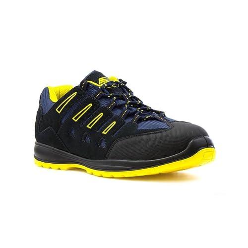 Earth Works Safety - Zapato de seguridad, acordonado, negro y azul, para hombre EarthWorks - Talla 6 UK / 39.5 EU - Negro