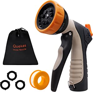 QUEKAS Hose Nozzle Sprayer, Spray Nozzle with 9 Patterns, Garden Hose Nozzle for Watering Plant, Washing Pet & Cars, Heavy Duty Garden Sprayer with Front Trigger Locks for Constant Spray