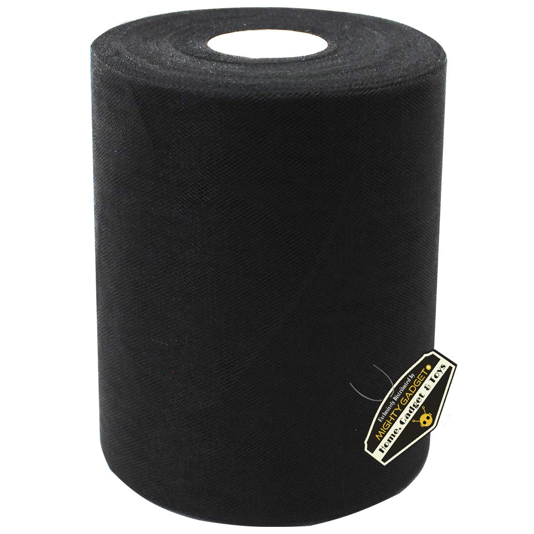 300 feet for Wedding and Decoration Mighty Gadget Brand Large Tulle Fabric Spool 6 inch x 100 Yards Black