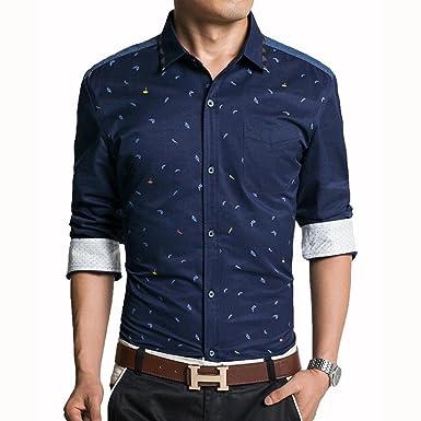 26887a29eaf Jeansian Men s Casual Slim Long Sleeves Dress Shirts Tops MCF013 Darkblue XS