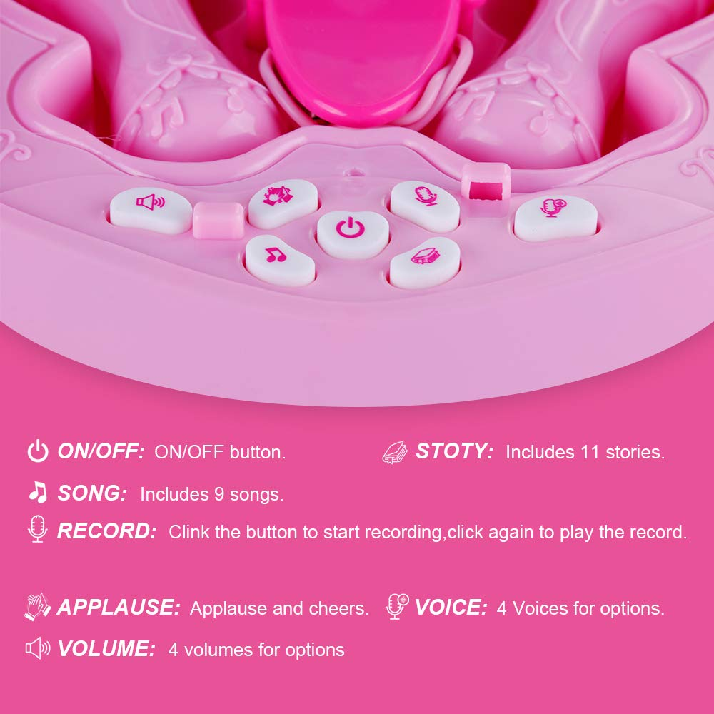 Anpro Kids Karaoke Machine with 2 Microphones & Adjustable Stand, Microphone Music Toy Play Set Music Player Best Birthday Gift for Kids by Anpro (Image #4)