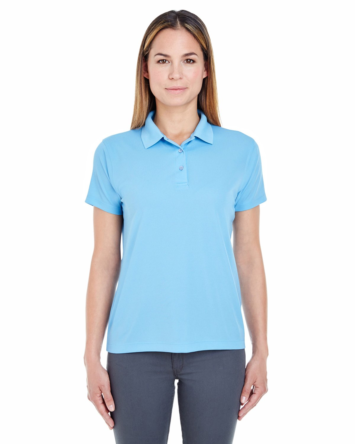 UltraClub Ladies' Cool & Dry Jacquard Performance Polo Shirt, Columbia Blue, S