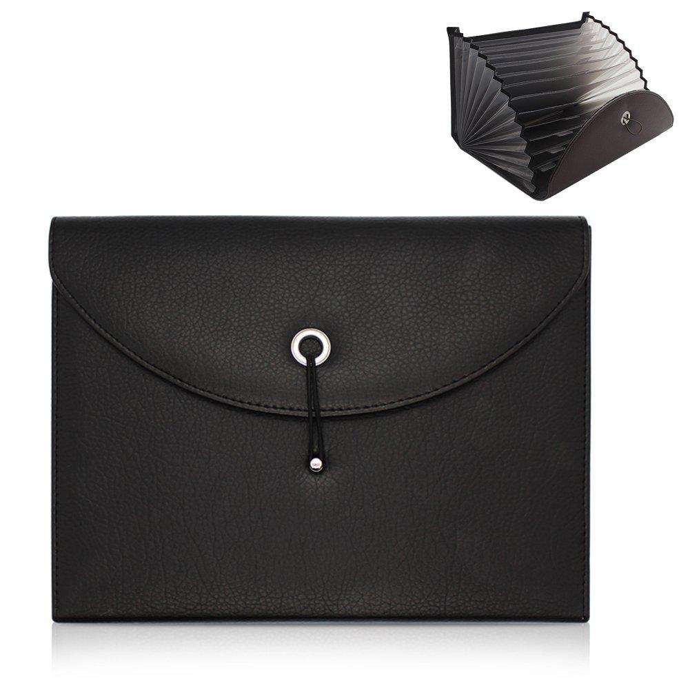 Oak-Pine Expandable Portable Accordion File Folder Document Wallet Briefcase PU Leather Business File Organizer Bag A4 and Letter Size 13 Pockets (Black)