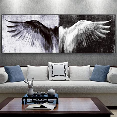 Amazon Com Rongtong Black And White Wings Home Decor Canvas Painting Posters Angel Wings Picture For Living Room Decoration 50x150cm No Frame Posters Prints