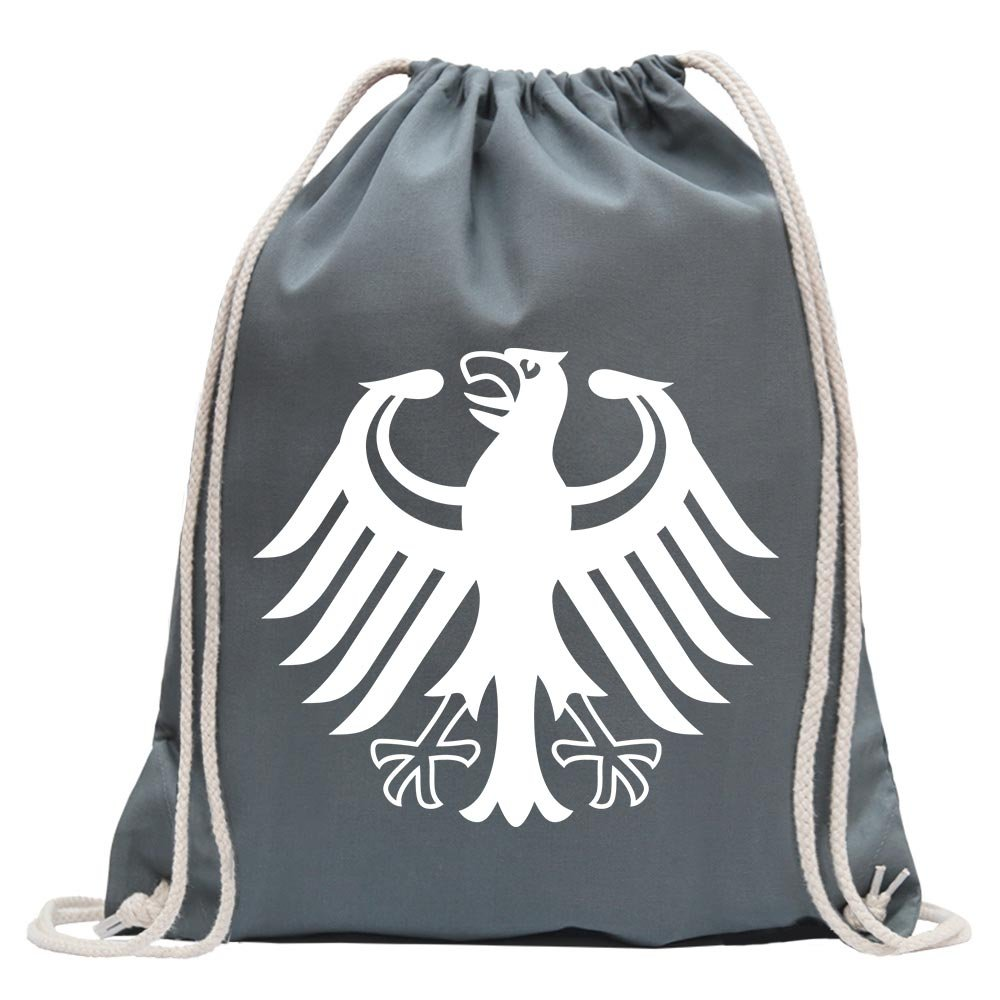KIWISTAR - Federal coat of arms of Germany Fun backpack sports bag fitness Gymbag shopping cotton with drawstring
