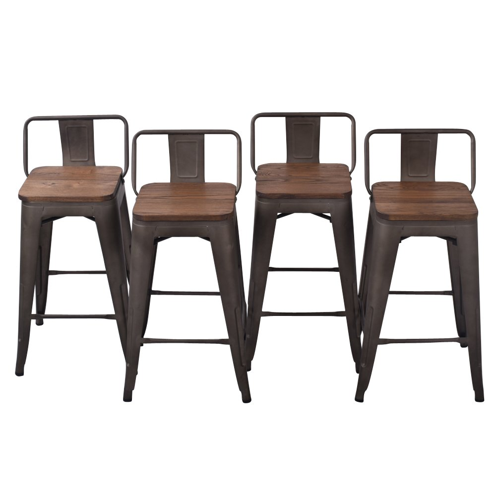 24'' Low Back Metal Counter Stool Height Bar Stools with Wooden Seat [Set Of 4] for Indoor/Outdoor Barstools