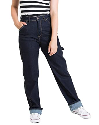 874a4ad6002 Hell Bunny Carpenter 1940 s Style High Waist Wide Leg Cuffed Denim Jeans  (X-Small