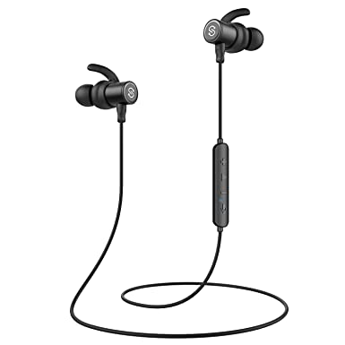 SoundPEATS Alexa Enabled Bluetooth Headphones Wireless Earbuds in-Ear IPX6 Sweatproof Magnetic Earphones with Mic for Sports Super Sound Quality, Bluetooth 4.2, Noise Cancelling, 8 Hours Play Time