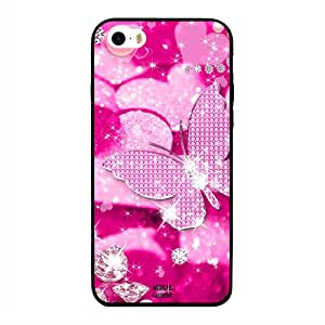 iPhone 5/ 5s/ SE Case Cover Diamonds & Pink Butterfly, Moreau Laurent Designer Phone Cases & Covers