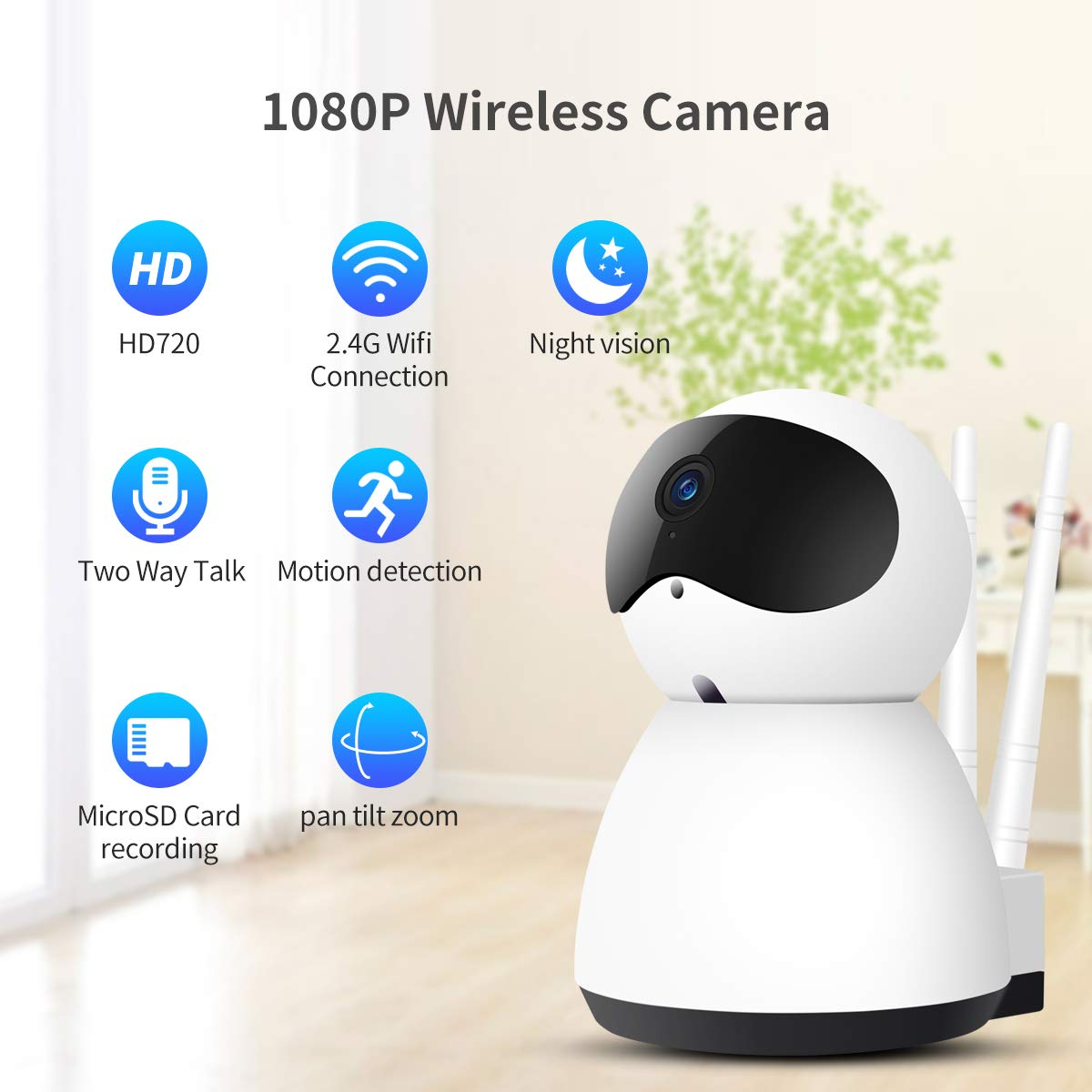 Baby Monitors 1080p Hd Network Camera Two-way Audio Wireless Network Camera Night Vision Motion Detection Camera Robot Pet Baby Monitor Drip-Dry Video Surveillance