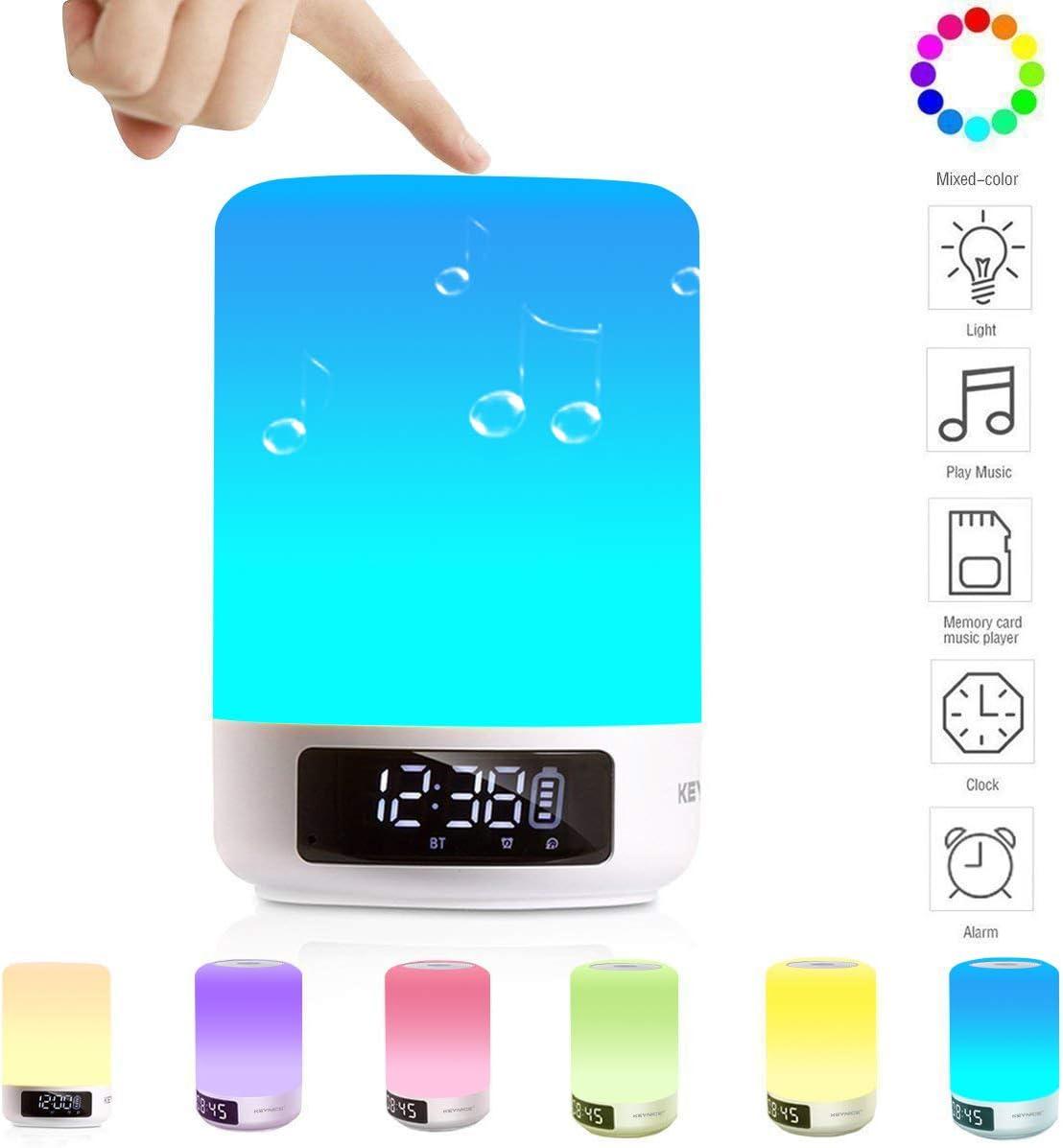 Keynice 3 en 1, reloj despertador, lamparita y altavoz bluetooth, lámpara de mesa con sensores táctiles+Multicolor Luz de noche, compatible con iPhone, iPad, Android teléfonos inteligentes-Blanco